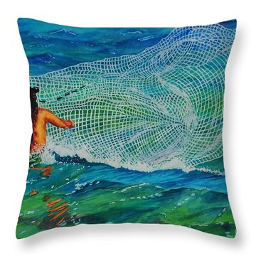 Kauai Fisherman Throw Pillow