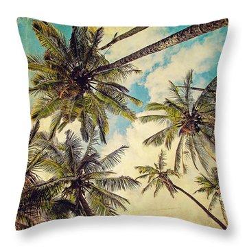 Kauai Island Palms - Blue Hawaii Photography Throw Pillow