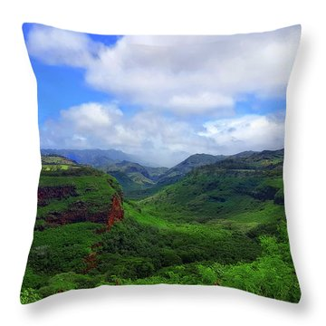 Kauai Mountains Throw Pillow