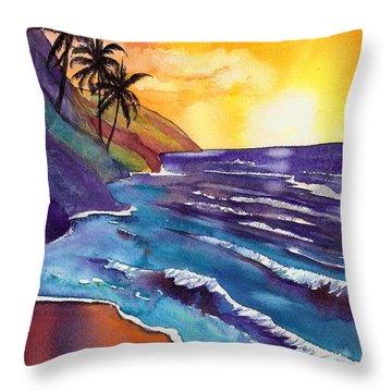 Kauai Na Pali Sunset Throw Pillow