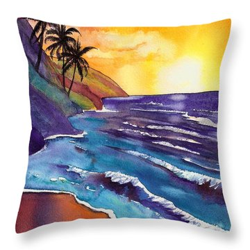 Kauai Na Pali Sunset Throw Pillow by Marionette Taboniar