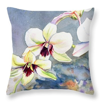 Kauai Orchid Festival Throw Pillow by Marionette Taboniar