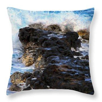 Kauai Rock Splash Throw Pillow