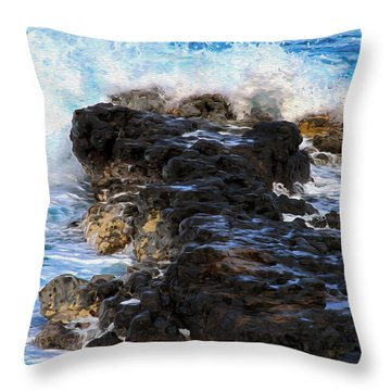 Kauai Rock Splash Throw Pillow