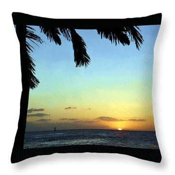 Kauai Sunset Throw Pillow by Ellen Henneke