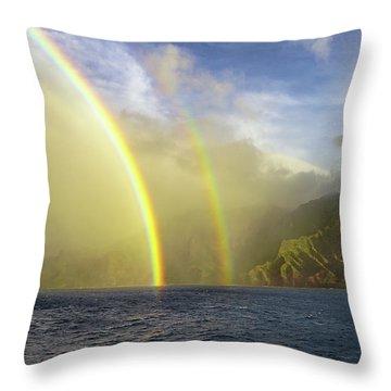 Kauai Sunset Rainbow Throw Pillow