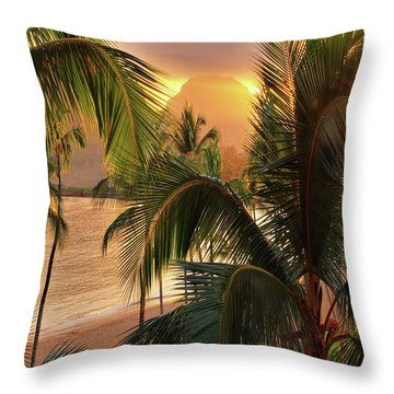 Olena Art Kauai Tropical Island View Throw Pillow