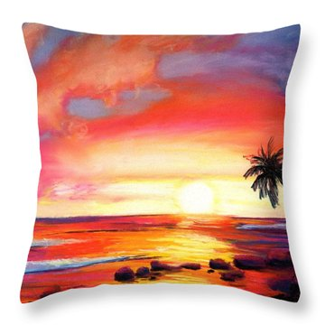 Kauai West Side Sunset Throw Pillow by Marionette Taboniar