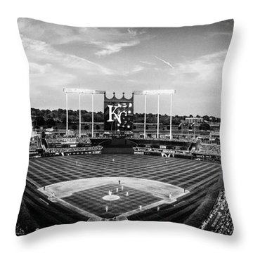Kauffman Stadium - Bw Pano Throw Pillow