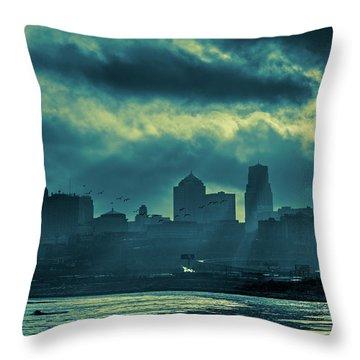 Kaw Point Kansas City Skyline Throw Pillow