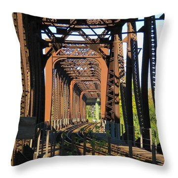 Kaw Point Railroad Bridge Throw Pillow
