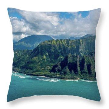 Kawaii Na Pali Coast  Throw Pillow