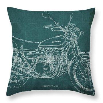 Kawasaki Motorcycle Blueprint, Mid Century Art Print Throw Pillow
