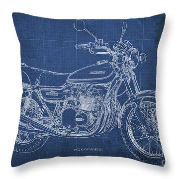 Kawasaki Motorcycle Blueprint, Mid Century Blue Art Print Throw Pillow
