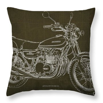 Kawasaki Motorcycle Blueprint, Mid Century Brown Art Print Throw Pillow