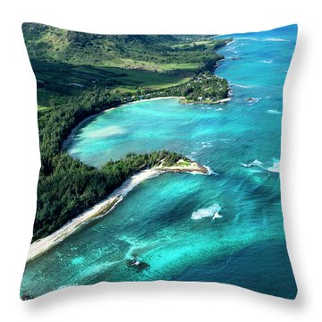 Kawela Bay, Looking West Throw Pillow