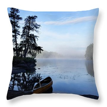Kawishiwi Morning Throw Pillow by Larry Ricker