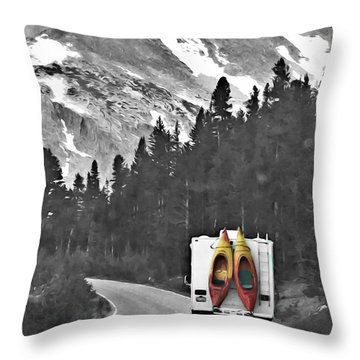 Kayak Adventure Throw Pillow