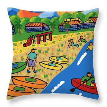 Kayak Beach - Cedar Key Throw Pillow