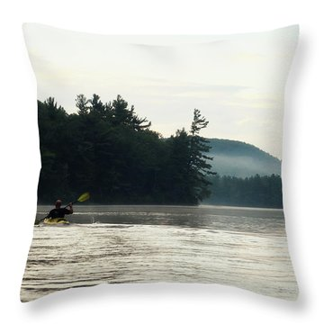 Kayak In The Fog Throw Pillow