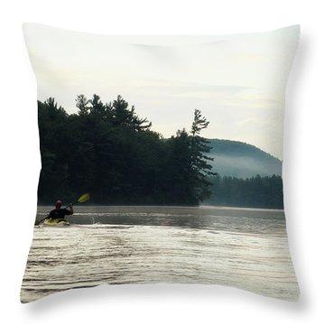 Kayak In The Fog Throw Pillow
