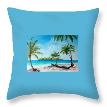 Kayak On The Beach Throw Pillow