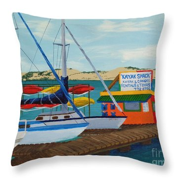 Throw Pillow featuring the painting Kayak Shack Morro Bay California by Katherine Young-Beck