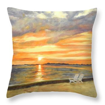 Kayak Sunrise Throw Pillow