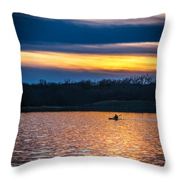 Kayak Sunset Throw Pillow