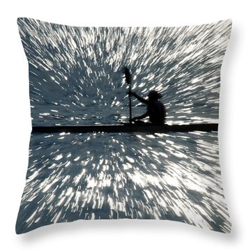 Kayak Zoom Throw Pillow by Steve Somerville