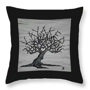 Throw Pillow featuring the drawing Kayaker Love Tree by Aaron Bombalicki