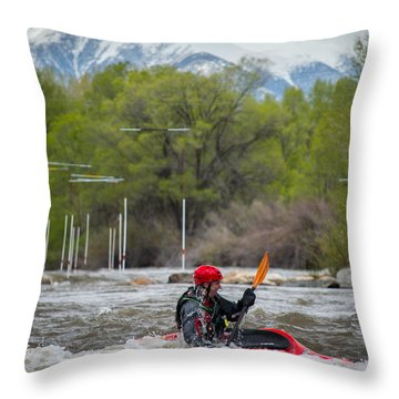 Kayaker On The Arkansas Throw Pillow