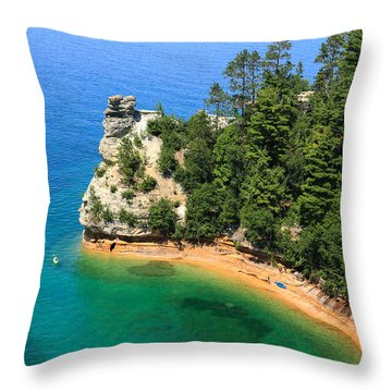 Kayaking At Miners Castle Throw Pillow