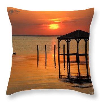 Kayaking At Sunset Obx Throw Pillow