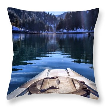 Kayaking In Mccloud Throw Pillow