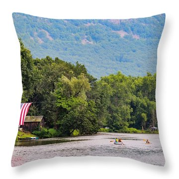 Kayaking On Nashawannuck Pond Easthampon Throw Pillow