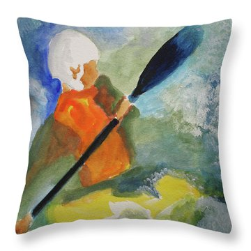 Throw Pillow featuring the painting Kayaking by Sandy McIntire
