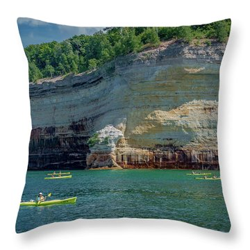 Kayaking The Pictured Rocks Throw Pillow