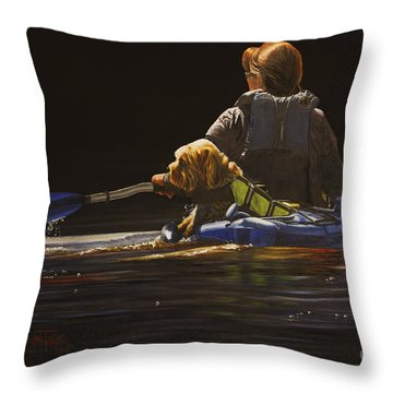 Kayaking With Your Best Friend Throw Pillow by Laurie Tietjen