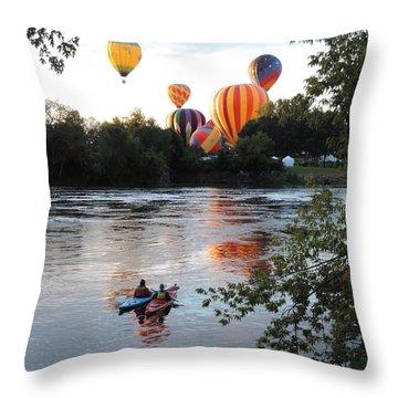 Kayaks And Balloons Throw Pillow