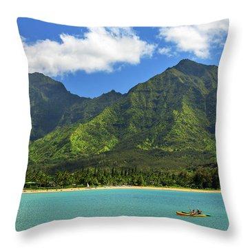 Kayaks In Hanalei Bay Throw Pillow