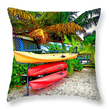 Kayaks In Paradise Throw Pillow by Joan  Minchak