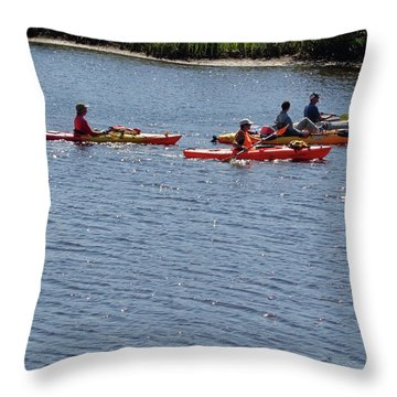 Kayaks Throw Pillow by John Mathews