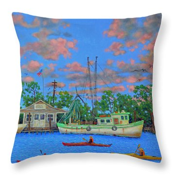 kayaks on the Creek Throw Pillow by Dwain Ray