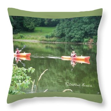 Kayaks On The River Throw Pillow