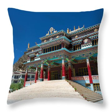 Throw Pillow featuring the photograph Kaza Monastery by Yew Kwang