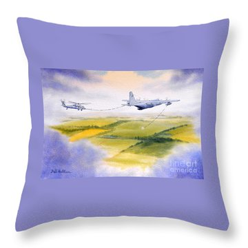 Kc-130 Tanker Aircraft Refueling Pave Hawk Throw Pillow by Bill Holkham