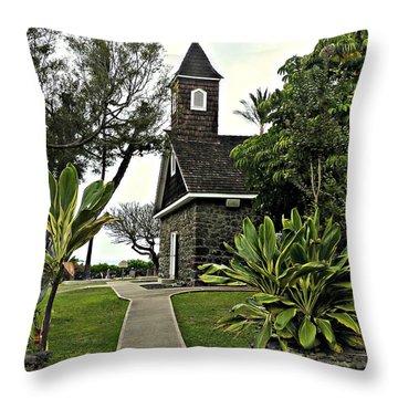 Keawala'i Congregational Church Throw Pillow by Jo Sheehan