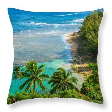 Kee Beach Kauai Throw Pillow