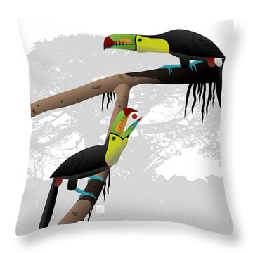Keel-billed Toucans Throw Pillow